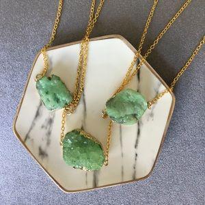 Green Crystal Druzy Quartz Necklace